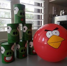 Giggleberry Creations!: Angry Birds Game recycled tin can game.