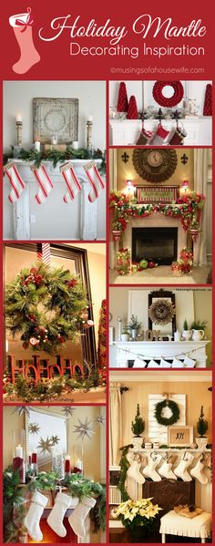 Holiday Mantle Decorating Ideas 9 Gorgeous Christmas Mantle Decoration Ideas to inspire your holiday decorating this year with creative holiday mantle garland and more! Christmas Mantels, Noel Christmas, Christmas Crafts, Christmas Ideas, Xmas Decorations, Christmas Inspiration, Mantle Decorating, Holiday Decorating, Decorating Ideas