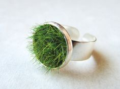 Green Grass Ring in Silver Wide Adjustable Band by aptoArt on Etsy, $22.00