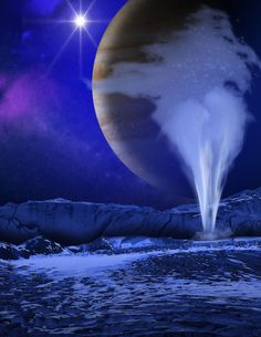 An artist's illustration of Jupiter's icy moon Europa, with a water geyser erupting in the foreground while Jupiter appears as a backdrop. Images from the Hubble Space Telescope suggest Europa may have water plumes like Saturn's moon Enceladus. Image released Dec. 12, 2013