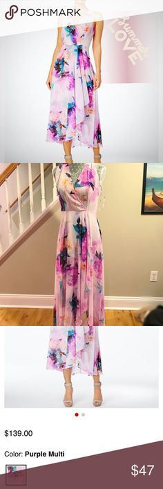 Sale💗ʜɪɢʜ ʟᴏᴡ ᴍɪᴅɪ Dress Calvin Klein Floral High Low Midi Dress in Purple Multicolor 🌸💗 Size 4. Purchased for $139. 💗 Worn once! Still In stores Calvin Klein Dresses Midi