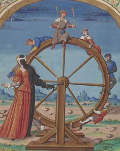 """""""Fortuna turns the precipitous falls of kings"""" -Seneca, Agamemnon"""" Medieval Manuscript, Medieval Art, Renaissance Art, Illuminated Manuscript, Renaissance Clothing, Giovanni Boccaccio, Medieval Paintings, Wheel Of Fortune, Bnf"""