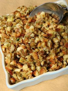Sage Onion and Bacon Stuffing - this looks good, especially if you make it with homemade cornbread. Stuffing Recipe With Bacon, Crockpot Stuffing, Vegan Stuffing, Sausage Stuffing, Cornbread Stuffing, Sage And Onion Stuffing, Awesome Stuffing Recipe, Homemade Stuffing, Homemade Cornbread