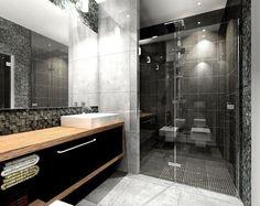 salle de bain noir et blanc avec meuble en bois et parement ardoise