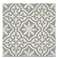 "Moroccan Mosaic Argana 8"" x 8"" Handmade Cement Tile in Gray and White"