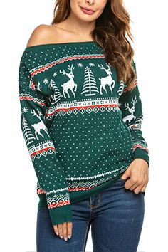 The perfect SoTeer Women's Off Shoulder Sweater Boat Neck Long Sleeve Loose Fitting Sexy Sweatshirt Knit Jumper Sweater Pullover reindeer christmas jumper. ($29.99) alltoenjoyshopping from top store