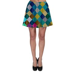 Rhombus pattern in retro colors Skater Skirt