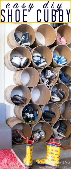 This is AWESOME. Inexpensive DIY shoe storage / shoe cubbies made from concrete form tubes/sonotube! So smart!! This should only take an hour or so to put together. #shoestorage #shoeorganizer #shoecubbies #shoestorageDIY #shoestorageideas