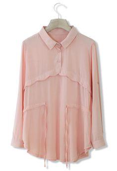 Pink Blouse with Drawstring Detail//