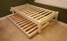 Four Post Platform Bed, Wood Bed, Low Profile Bed, Ballerina Bed, With Trundle or Storage