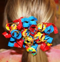 Star Print Curly-Q  Duck Duct Tape Auto Clasp Hair Barrette