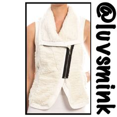 IVORY FAUX FUR VEST - MEDIUM Add a little sass and pizazz to your wardrobe, with this trendy Ivory Faux Fur Vest with Side Buckles. Zips in the front with a contrasting side zipper; fully lined, side pockets, faux leather trim.  The side buckles adjust for the kind of fit you want.  Pair with a mini, maxi, jeans, skinnies, almost anything. Let your creativity run wild. 23 inches in length; a blend of Poly/Cotton. No holds or trades; Price is firm, unless bundled. This listing is for a size…