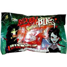8 Bloody Bites Glow in the Dark Plastic Fangs with Oozing Candy Blood Bag Halloween Treats (Pack of 2)  2 packs of 8 glow in the dark plastic fangs with oozing candy blood packs. Each set of teeth and blood weighs 2.8 oz. The blood packs are artificially flavored watermelon candy. Features : 2 packs of 8 glow in the dark plastic fangs with oozing candy blood packs *2.8 oz. individually wrapped bags