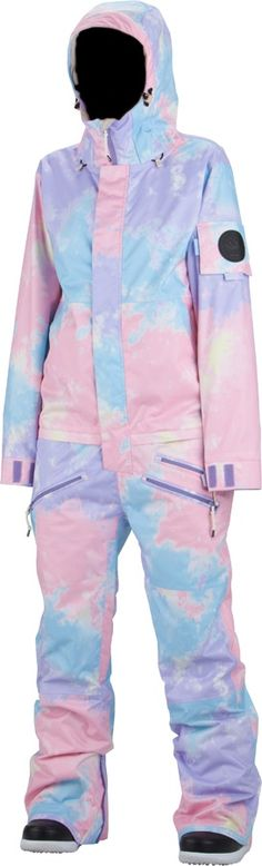 Airblaster WOMENS FREEDOM One Piece Ski Suit Onsie, L, Pastel Tie Dye. I would rock this.