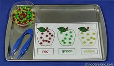 Apple Pony Beard Sorting ... great for fine motor development and math skills.