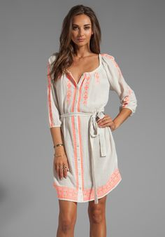 Farley Embroidered Crinkle Gauze Dress in Milk/Coral