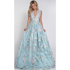 FLEUR GOWN Lurelly ($1,500) ❤ liked on Polyvore featuring dresses, gowns, floral ball gown, blue evening dresses, floral evening dress, silk evening gowns and silk gown