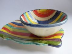 Vintage striped cup and saucer, ceramic cup & saucer, colourful cup