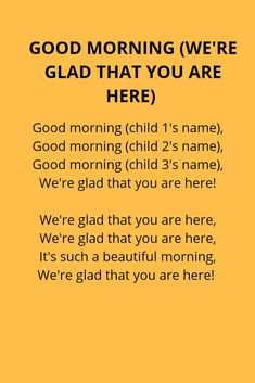 """Sung to the tune of """"For he's a jolly good fellow"""", this song is a lovely way to greet your kids in the morning. It is great for circle time. You can sit in a circle with the kids and have them tap their knees to the beat. Transition Songs For Preschool, Fall Preschool, Preschool Ideas, Circle Time Songs, Circle Time Activities, Songs For Toddlers, Children Songs, Kindergarten Songs, Preschool Songs"""
