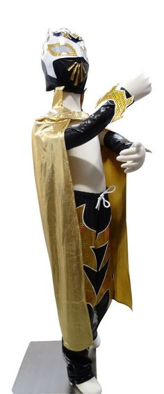 SIN CARA Complete Lucha Libre Children's Youth Halloween Costume Size 8 - Black - MASKMANIAC.COM