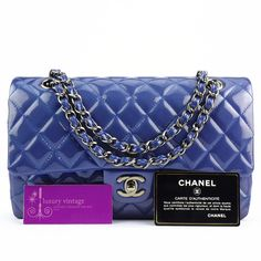 CHANEL Medium Flap Royal Blue Patent With Silver Good Condition Ref.code-(KRSC-1) More Info Pls PM Or Email  ( luxuryvintagekl@ gmail.com )