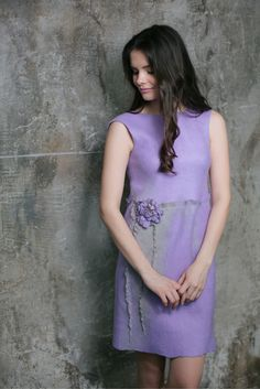 Irina Demchenko - Romantic dress realized with DHG wool.  Lilac felted dress.