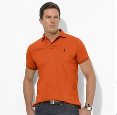 Ralph Lauren Men\u0026#39;s Classic-Fit Mesh Short Sleeve Polo Shirt Orange http://
