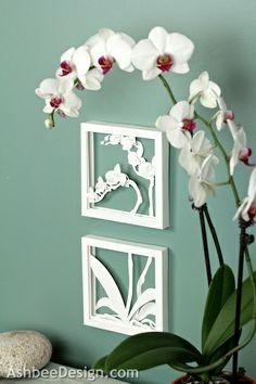 Ashbee Design- Orchid Shadow Box. Cutting file available at Silhouette online store.