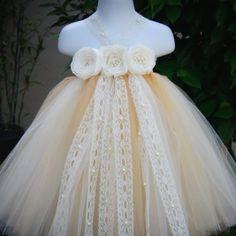 Sweet Dream Champagne Ivory Vintage Flower Girls Tutu Dress