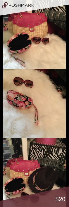 Sunglasses 🕶 & Case bundle 🌷🌷🖤 Sunglasses 🕶 pink multi colored & flowered case 🌸🌸🌷🌷 Handbag and hat not included can be bundled from a single listing NWOT Accessories Glasses