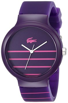 Lacoste Women's 2020090 Goa Stripe Purple Watch With Purple Silicone Band ** Find out more about the great watch at the image link.