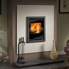 inset stove with stone surround - Google Search