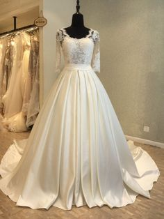 23f911c0d49 Long Sleeve Open Back Scoop A line See Through Lace Wedding Bridal Dresses