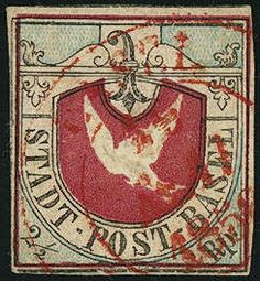 "Canton Base 2 1/2 Rp. black / blue / carmin, the Bale dove, on all sides good till wide margins, reverse various thin places, as well in the Baslerstab slightly scratched, strong embossed relief, nice mounted red two circle cancel ""Basle"", (Michel. No. 1a), certificate with photograph Rellstab. SBK 20000,- Sfr.  Dealer Gert Müller Auctions  Auction Minimum Bid: 2000.00 EUR"
