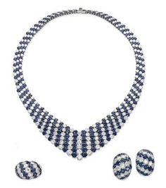 A SAPPHIRE AND DIAMOND NECKLACE AND RING, BY VAN CLEEF & ARPELS   Jewelry