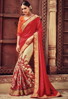 New Indian Embroidered Saree Linen Bollywood Fancy Ethnic Party Wear New Sari Lehenga Choli, Lehenga Style Saree, Anarkali, Bridal Lehenga, Red Lehenga, Heavy Lehenga, Indian Designer Sarees, Latest Designer Sarees, Indian Sarees