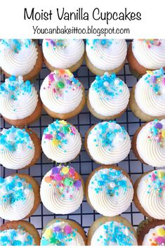 These Vanilla Cupcakes are light, moist and fluffy. They are decorated with a simple delicious American buttercream and topped with some cute sprinkles. Moist Vanilla Cupcakes, Baking Cupcakes, Cupcake Recipes, Dessert Recipes, Candy Land Cupcakes, Fun Cupcakes, Cupcake Tutorial, Icing Techniques, Cupcake Cases
