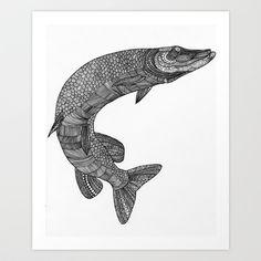 Northern pike - Esox lucius Art Print by Eirik Walland Larsen - $18.72