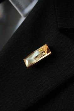 Cristal Swarovski® Lapel Pin - Limited edition boutonniere - Golden cristal Swarovski® Signed by Jean-Paul Gaultier. For Dapper Men. by TheGreyDeer on Etsy