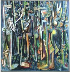 """Wifredo Lam """"The Jungle"""" is on view at Centre Pompidou art museum in Paris, France, from American Art, Modern Art, Painting, Museum Of Modern Art, Cuban Art, Art, All Art, Latino Artists, Art History"""
