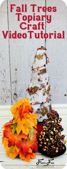 3 Fall Topiary Trees craft. You get three DIY tutorials in one! These 3 fall topiary trees are easy to put together don't require glue and make a beautiful addition to a centerpiece, mantle or display. Perfect for decorating your home or office!  Find out how to make your own here.