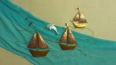 three sailboats travelling with a dolphin in a Greek sea Greek Sea, Everything Is Connected, Sailboats, True Beauty, Metal Art, Travelling, Unique, Handmade, Etsy