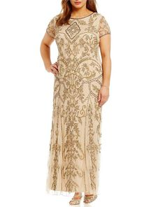 7ea4ddf5b61 Pisarro Nights Plus Short-Sleeve Beaded Gown