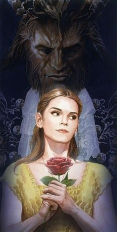 I love this– just wish they'd gotten Emma's jawline and shoulder width right lol • beauty-and-the-beast-alex-ross-poster