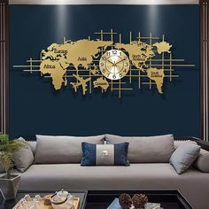 Large Metal Wall Clock, Clock Wall, World Map Wall Decor, 3d Light, Abstract Canvas Wall Art, Clock Decor, Nordic Style, Metal Walls, Decoration