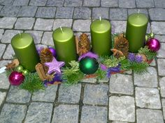 Galerie :: MY FLORIST Chrismas Advent wreath, green candles, collection Chic & Mysterious