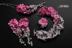 Gorgeous jewelry made of polymer clay. For inspiration - flowers made of polymer clay.