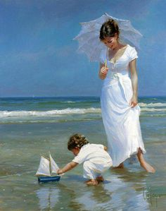memories of sunny days by the sea last a lifetime. Painting by Volegov