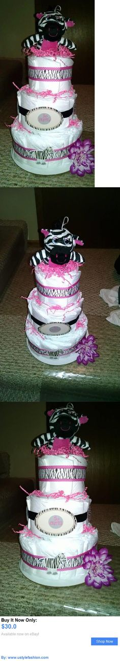 Baby Diaper Cakes: 3 Tier Girls Zebra Pink Diaper Cake Baby Shower Gift BUY IT NOW ONLY: $30.0 #ustylefashionBabyDiaperCakes OR #ustylefashion