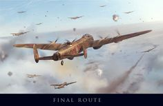 """The Art of Piotr Forkasiewicz ~ """"Final Route"""" -- a large formation of Lancasters from 156 Squadron, Royal Air Force, fly steadfastly through heavy flak as they approach Hamburg, Germany. The scene is late in the war, when the Royal Air Force took on more daylight raids deep into Germany. The scene depicts Lancaster GT-O (PB517) staying the course through the box of flak, while ahead, one of 156 Squadron's other Lancs takes hit in her Number 1 engine."""